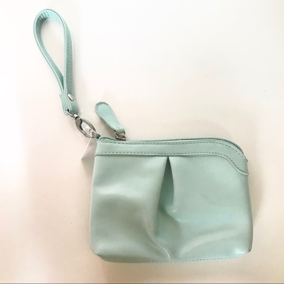 Charming Charlie Handbags - Charming Charlie Mint Green Zipper Wristlet Purse